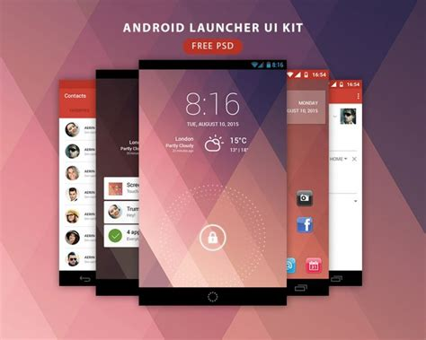 themes for clean ui launcher android launcher ui kit free psd download download psd