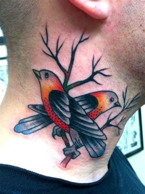 elegant bird neck tattoos