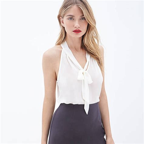 Squeeze Front Top 1 new summer strapless tank tops v neck chest bow ribbon back halter chiffon vest lf050