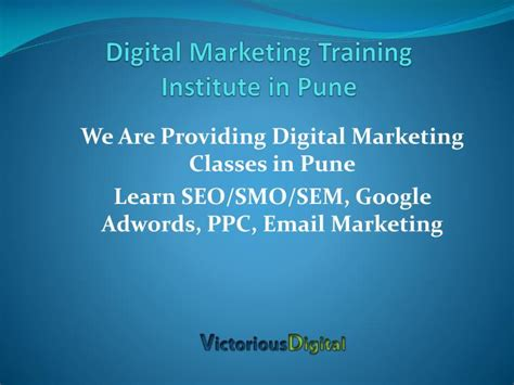 Marketing Classes by Ppt Digital Marketing Institute Pune Powerpoint