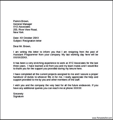 format of resignation letter sle ideas resignation letter template u2013 28 free word excel