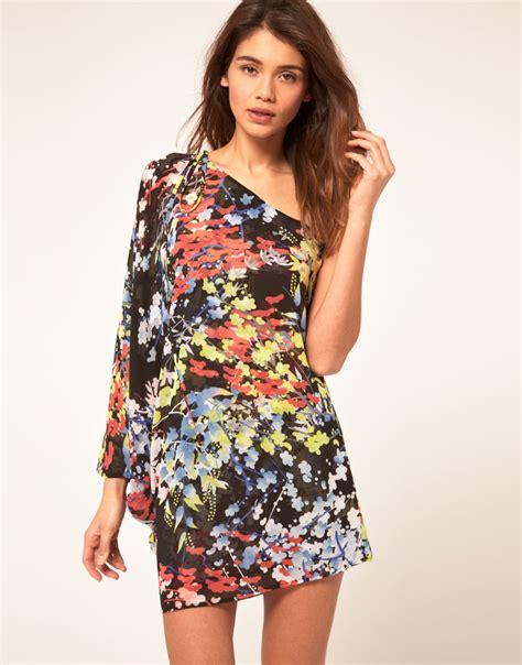 Miss Sixty Dress lyst miss sixty asymmetric dress with floral print in black