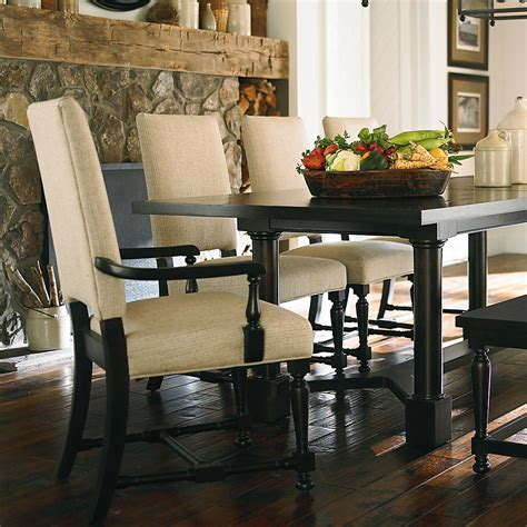 bassett dining room furniture classic dark oak upholstered dining chair with arms