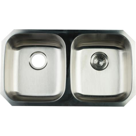 Glacier Bay Undermount Stainless Steel 32 In Double Bowl Glacier Bay Kitchen Sinks
