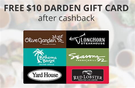 Can You Use Olive Garden Gift Card At Red Lobster - hurry free 10 olive garden red lobster gift card for new topcashback members