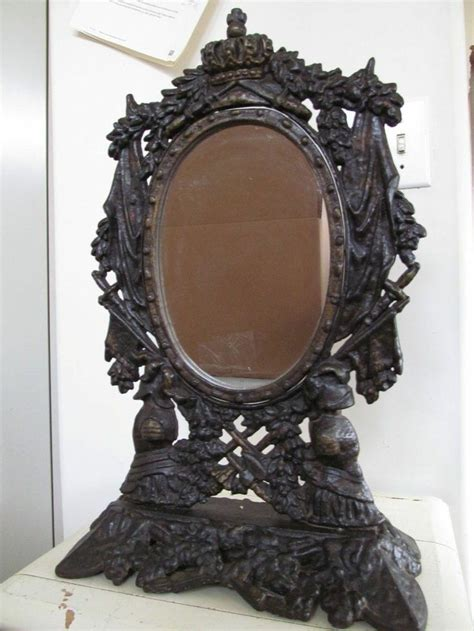 Antique Vanities With Mirror by Antique Mirror Large Cast Iron Figural Vanity