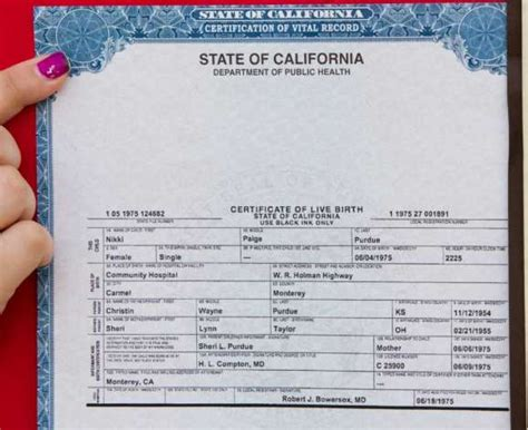 revised california birth certificate for nikki paige
