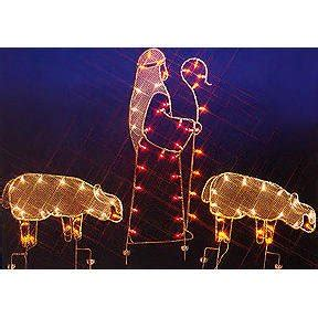 christmas wireframe sculptures 68 quot nativity shepherd and sheep silhouette lighted wire frame yard