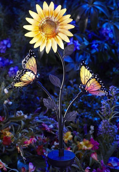 solar powered butterfly  sunflower garden brighter