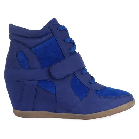 Wedge Heel Lace Up Boots Blue new blue high top womens lace up ankle wedge heel