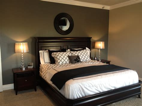 black paint for bedroom walls grey accent wall with black and white bedding ls