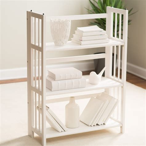 folding bookcase white 3 tier stackable folding bookcase white ebay