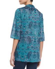 Tunic Batik Modern figue batik print 3 4 sleeve coverup tunic