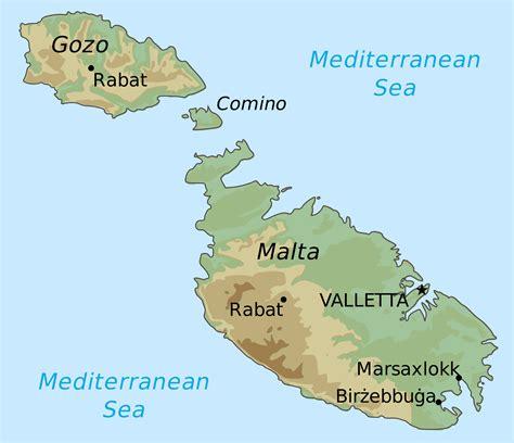 printable road map of malta large elevation map of malta malta large elevation map