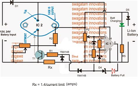 lithium battery charger schematic high current 12v 24v li ion battery charger circuit