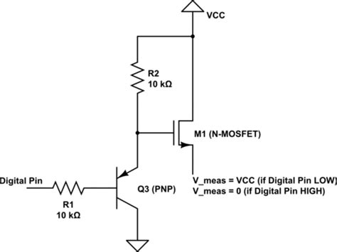transistor mosfet switch switches switching a current with an npn transistor and a p mosfet electrical engineering
