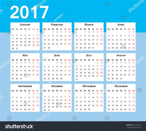european calendar 2017 in english office euro calendar