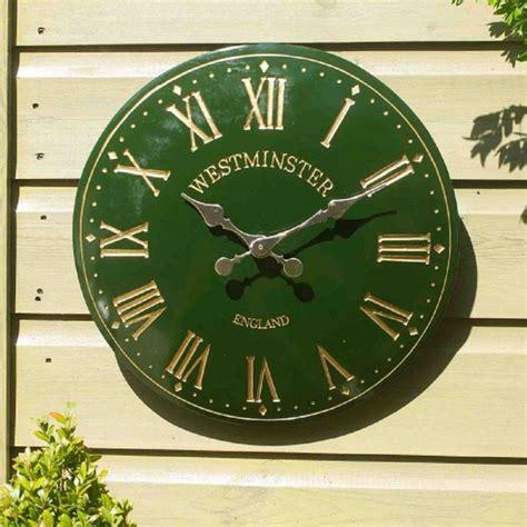 westminster tower wall clock  green outdoor clocks