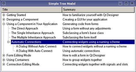 qml table layout simple tree model exle qt widgets 5 10