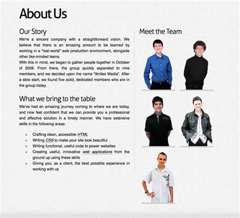 company bio template meet the team pages exles and trends smashing magazine