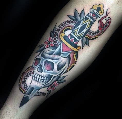 old school snake tattoo designs school mens dagger snake and traditional skull forearm