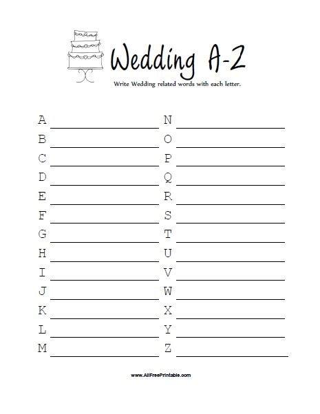printable games a z bridal shower wedding a z game free printable