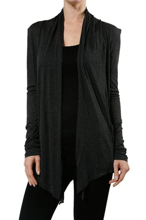 Open Front Light Cardigan basic sleeve draped open front light sheer