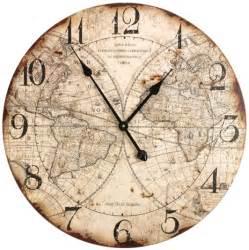 World Map Clock old world map wall clock