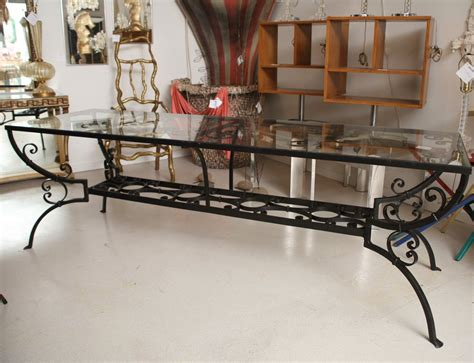 Wrought Iron Dining Room Furniture Wrought Iron Dining Table With Glass Top At 1stdibs