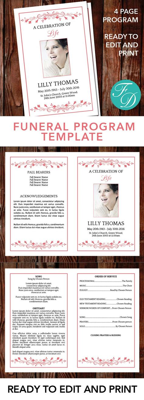 ready to edit templates sle best 25 funeral cards ideas on memorial