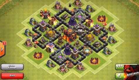 strong defense base th6 war clash of clans th6 base