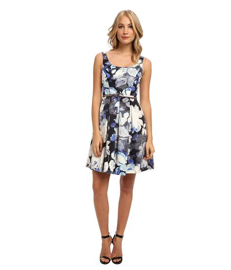 Sleeveless Flare Dress eliza j sleeveless floral fit flare dress w pleated skirt in blue lyst
