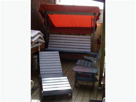 Cedar Patio Set   Swing, Chaise Lounge, Chair & End Table