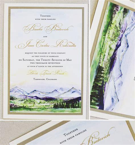 painted watercolor wedding invitations b mountain wedding