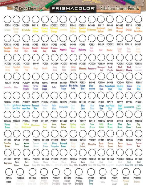 prismacolor color chart prismacolor 132 premier colored pencil chart by