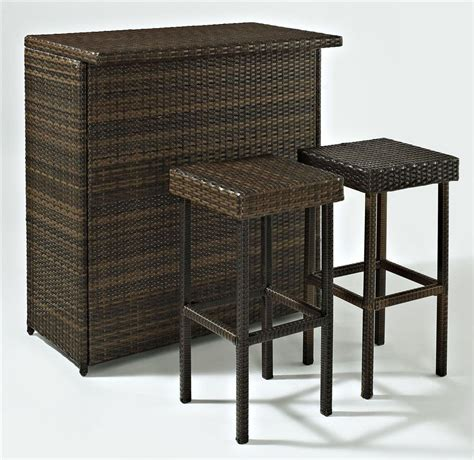 crosley furniture palm harbor 3 outdoor wicker bar