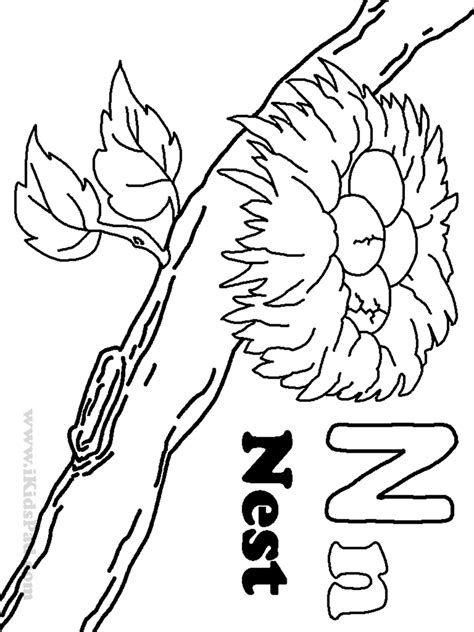 N For Nest Coloring Page by Nest Coloring Page Coloring Home