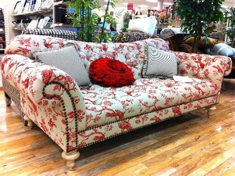 Black Pattern Sofa | floral sofa pattern with red white color plus nailhead