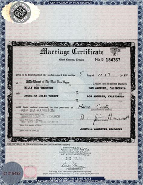 City Of Las Vegas Marriage Records And Billy Bob Thornton And Jason