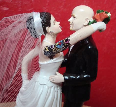tattooed couple wedding cake topper custom tattooed wedding cake toppers by erin tinney
