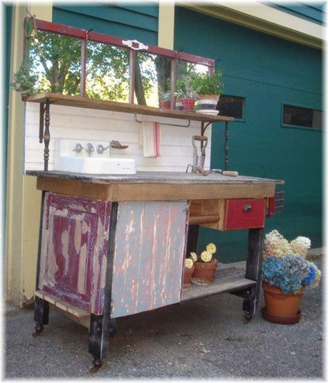 antique potting bench potting bench w porcelain enamel antique iron sink