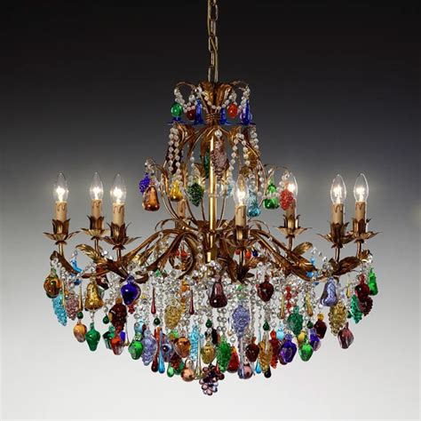 kronleuchter modern glas mandragola deluxe murano glass chandelier with pendant fruits