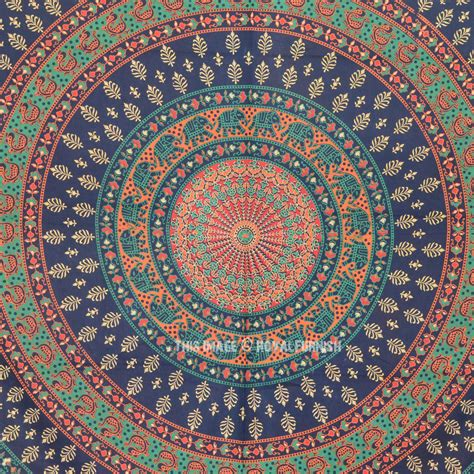 Sheer Embroidered Curtains Queen Size Elephant Floral Bohemian Mandala Wall Tapestry