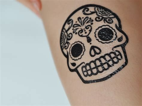 sugar skull temporary tattoo henna skull makedes