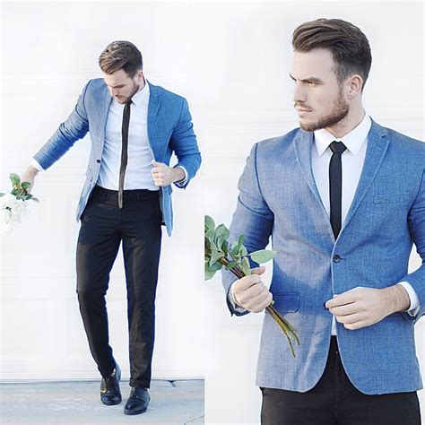 Blue Blazer light blue blazer teamed with black trousers and tie
