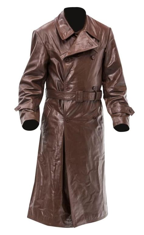 Ss Brown ww2 german gestapo leather trench coat brown leather