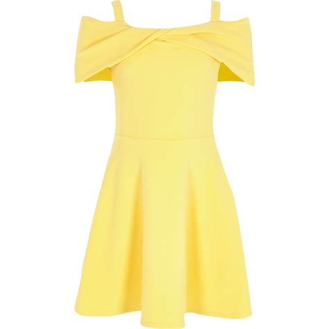 Dress Yellow Scuba yellow scuba bow bardot skater dress dresses