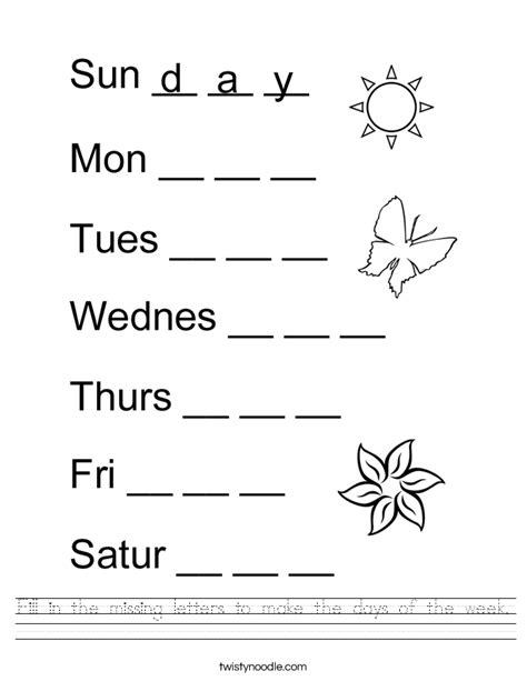 Days Of The Week In Worksheet by Fill In The Missing Letters To Make The Days Of The Week Worksheet Twisty Noodle