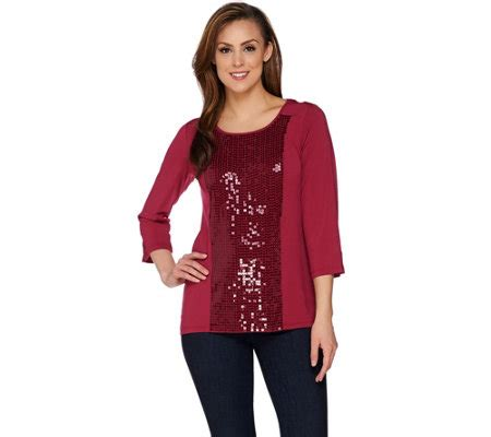 Sleeve Panel Knit Top joan rivers sequin panel knit top with 3 4 sleeves page