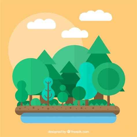 forest in flat design vector free download